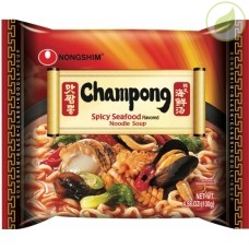 Лапша быстрого приготовления Чампонг, острая с морепродуктами, Nongshim, 130г