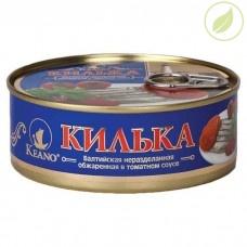 Килька в томатном соусе Keano неразделанная обжаренная балтийская, «5 морей», 240 г