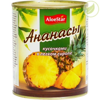 "Ананасы кусочками, ""Aloestar"", 850 мл"