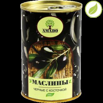 """Черные маслины с косточкой, """"Amado"""" 300 г"""