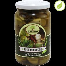 """Зеленые оливки с косточкой со специями по-сицилийски, крупные, """"Amado"""" 350 г"""
