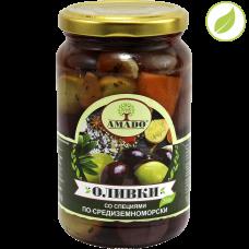"""Зеленые оливки с косточкой со специями по-средиземноморски, крупные, """"Amado"""" 350 г"""