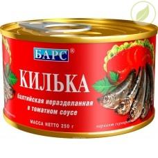"""Килька балтийская неразделанная в томатном соусе, """"Барс"""", 250г"""