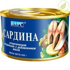 """Сардина атлантическая натуральная с добавлением масла, """"Барс"""", 250г"""